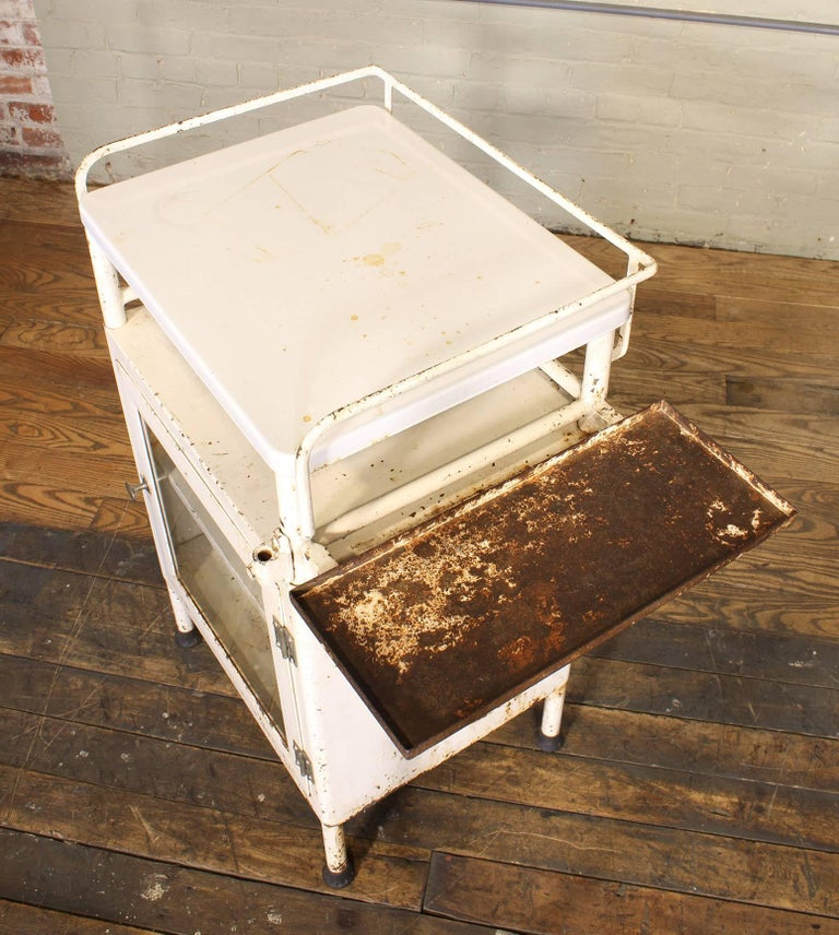 Enamel Antique Distressed Medical Storage Cabinet For Sale