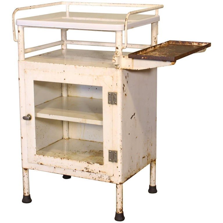 Antique Distressed Medical Storage Cabinet For Sale