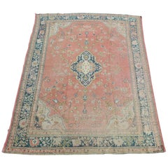 Antique Distressed Oushak Rug Light Salmon Background and Light Turquoise Border
