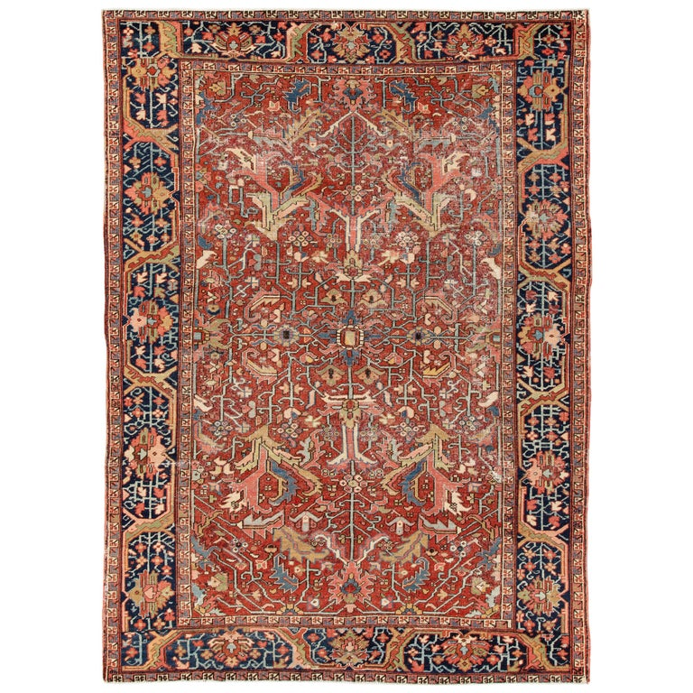Antique Distressed Persian Heriz Rug For Sale At 1stdibs