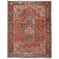 Antique Distressed Persian Heriz Rug