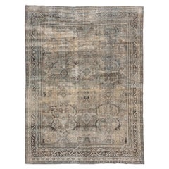 Antique Distressed Persian Mahal Rug, Neutral Palette, Green Accents