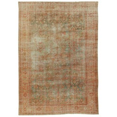 Antique Distressed Persian Sultanabad Rug, circa 1900 9'10 x 13'10