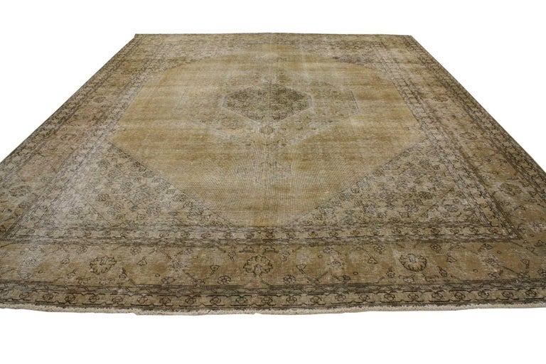 80309 Antique Distressed Persian Tabriz Area Rug With Modern Industrial Style This