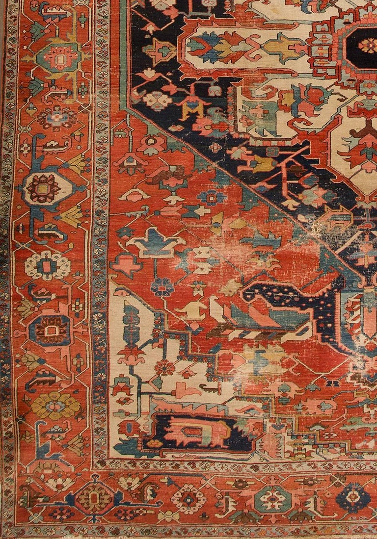 Antique Distressed Rust and Blue Persian Serapi Rug For ...