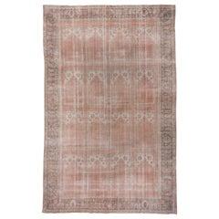 Antique Distressed Turkish Orange Oushak Carpet
