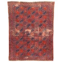 Antique Distressed Turkmen Ersari Rug
