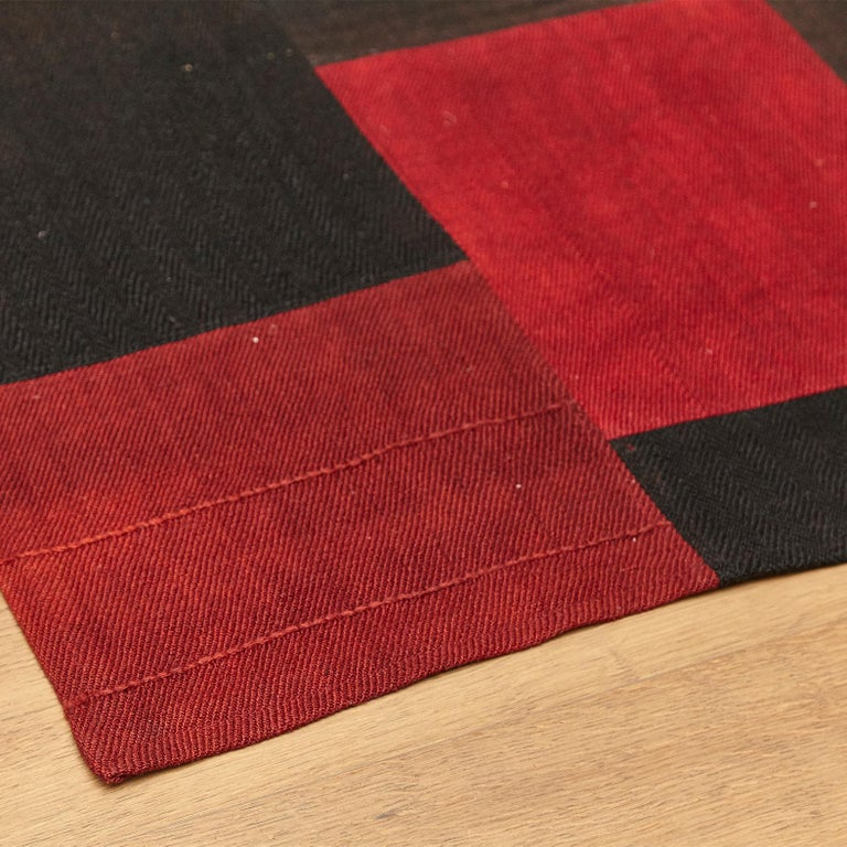 Antique Dizmeck Kilim Turkey Red Black Rug For Sale 4