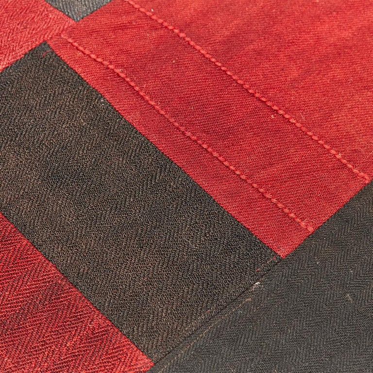 Antique Dizmeck Kilim Turkey Red Black Rug For Sale 6