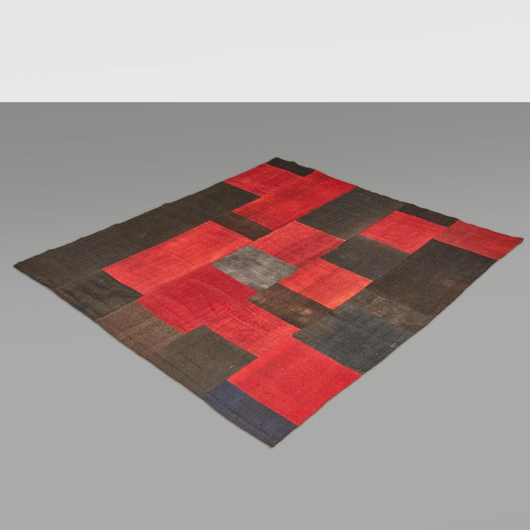 Antique Dizmeck Kilim Turkey Red Black Rug For Sale 9