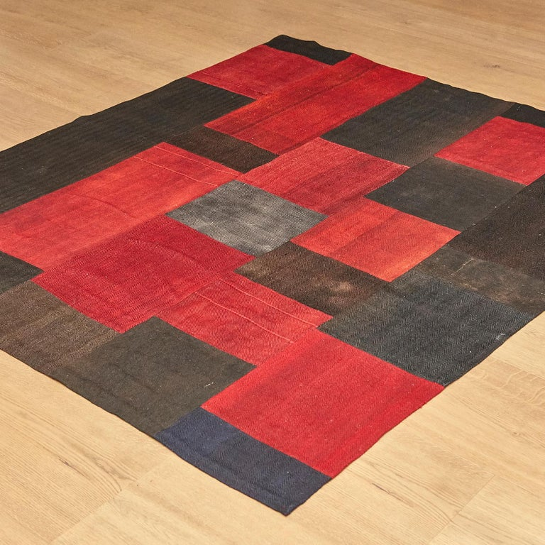 Turkish Antique Dizmeck Kilim Turkey Red Black Rug For Sale