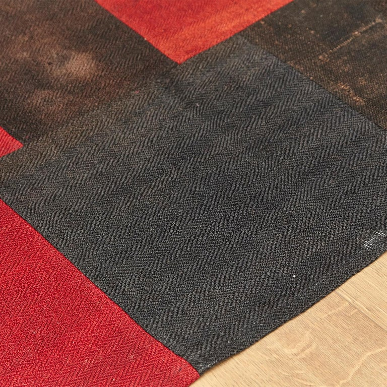 Antique Dizmeck Kilim Turkey Red Black Rug For Sale 1