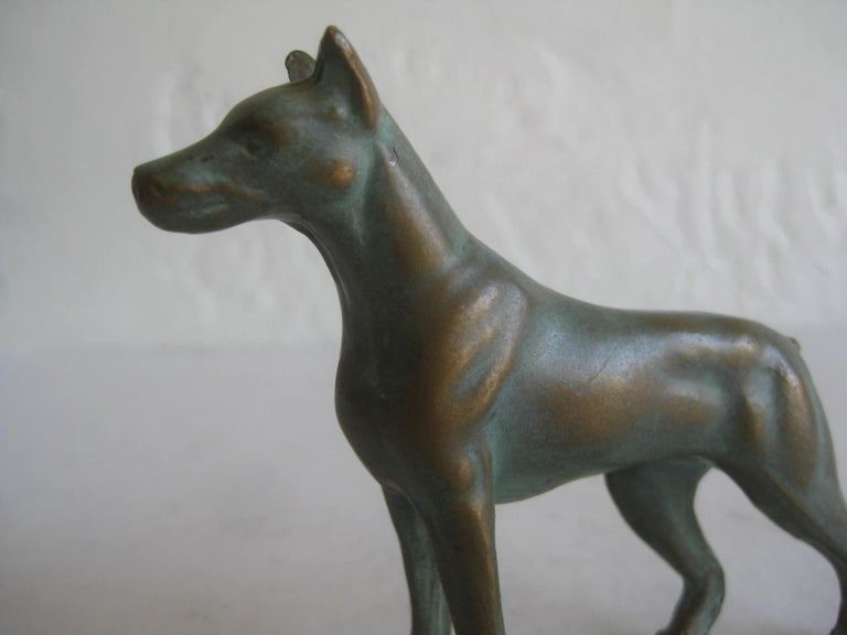 Great antique solid bronze Doberman Pinscher dog figurine/sculpture. Reminds me of Vienna bronze pieces but I cannot find a mark or signature. Great patina and has wonderful details. Measures: 2 7/8