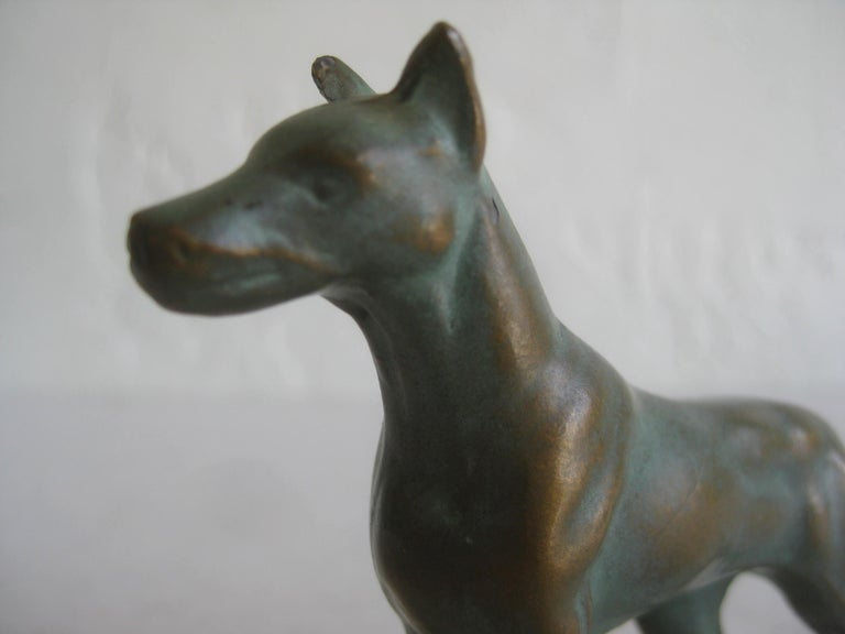 Mid-20th Century Antique Doberman Pinscher Dog Figural Solid Bronze Figurine Sculpture For Sale