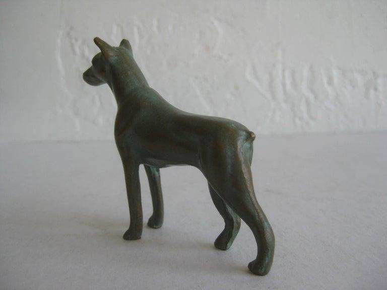 Antique Doberman Pinscher Dog Figural Solid Bronze Figurine Sculpture For Sale 1