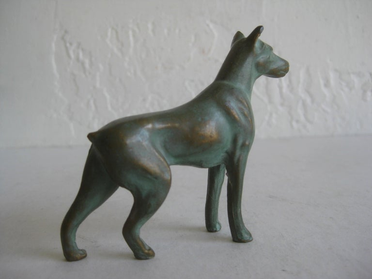 Antique Doberman Pinscher Dog Figural Solid Bronze Figurine Sculpture For Sale 2