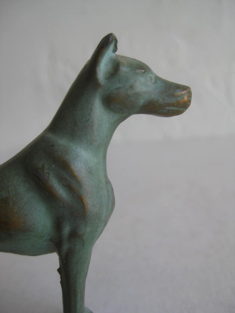 Antique Doberman Pinscher Dog Figural Solid Bronze Figurine Sculpture For Sale 4
