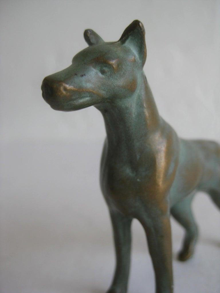 Antique Doberman Pinscher Dog Figural Solid Bronze Figurine Sculpture For Sale 5