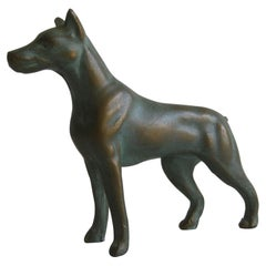 Antique Doberman Pinscher Dog Figural Solid Bronze Figurine Sculpture