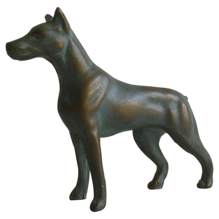 Antique Doberman Pinscher Dog Figural Solid Bronze Figurine Sculpture For Sale