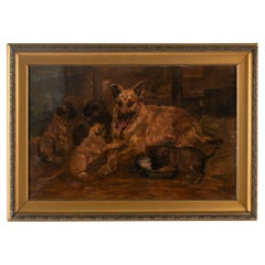 Antique Dog Painting by William Stern, Dated 1921, Malinois with Puppies