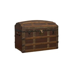 Antique Dome Top Trunk, English, Oak, Carriage Chest, Coffer, Edwardian