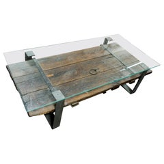Antique Door Coffee Table with Glass Top