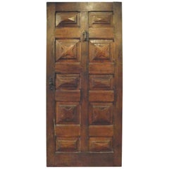 Antique Door in Brown Walnut with Diamond Carved Panels, 17th Century, Italy