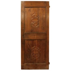 Antique Door in Larch Wood, Carved Geometric Figures, 19th Century, Italy