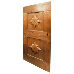 Antique Door in Red Larch Wood, Carved Star, Rustic from Mountain, Italy, 1800
