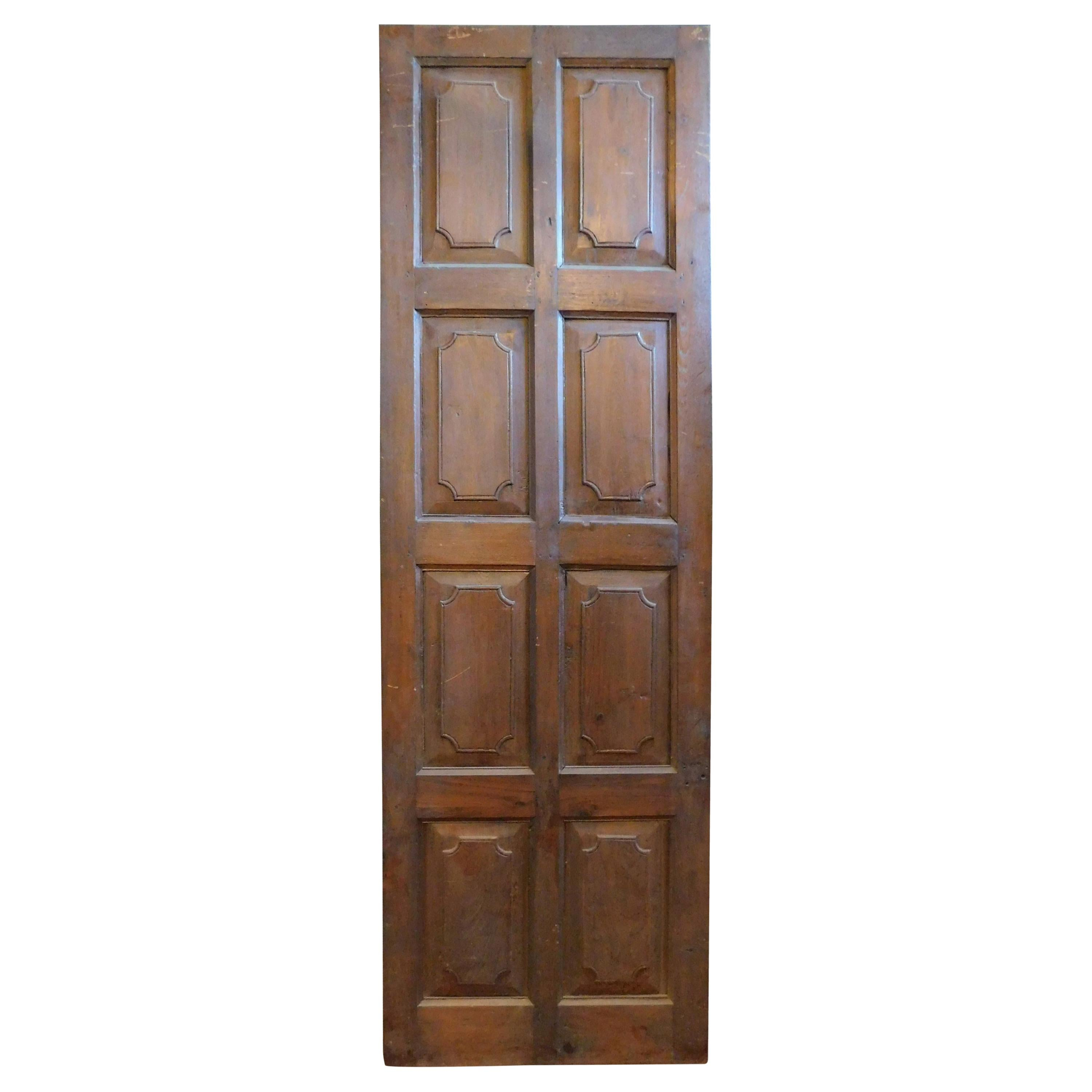 Antique Door in Solid Brown Walnut, Carved Double-Sided, 18th Century, Italy
