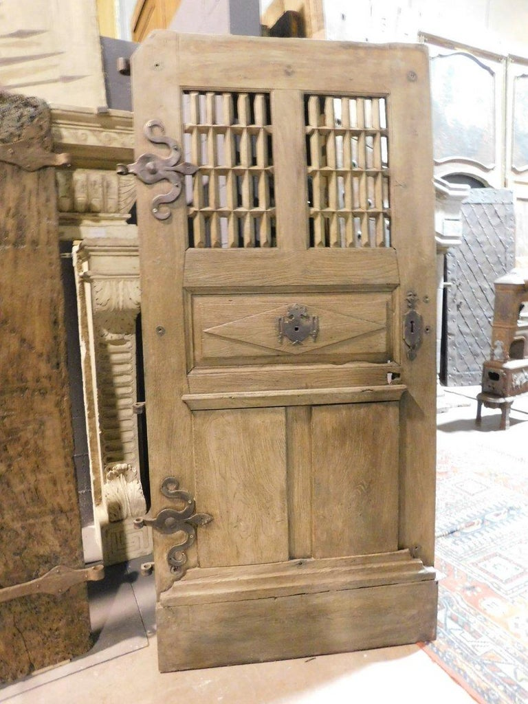French Antique Door Oak Wood, Window and Carved Panels, Original Irons, 1700, France For Sale