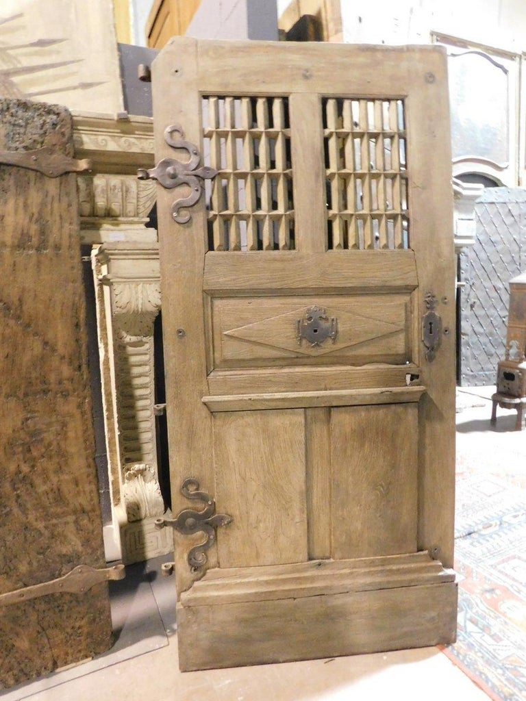 Hand-Carved Antique Door Oak Wood, Window and Carved Panels, Original Irons, 1700, France For Sale