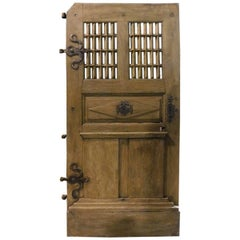 Antique Door Oak Wood, Window and Carved Panels, Original Irons, 1700, France
