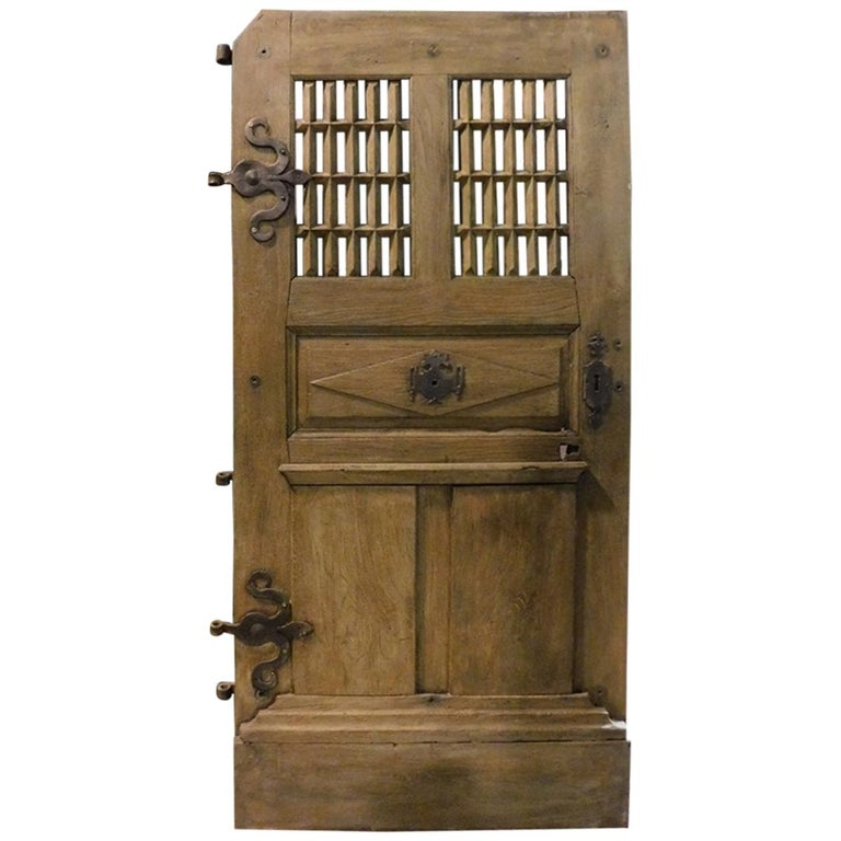 Antique Door Oak Wood, Window and Carved Panels, Original Irons, 1700, France For Sale