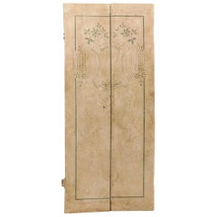 Antique Door with Double White and Green Lacquered Door with Writing Welcome