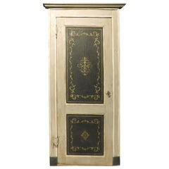 Antique Door, with Painted Frame and Panels, Black and Gray, '700 Italy