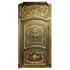 Antique Door with Rich Frame and Carved over Door, Black and Gold, 1700, Italy