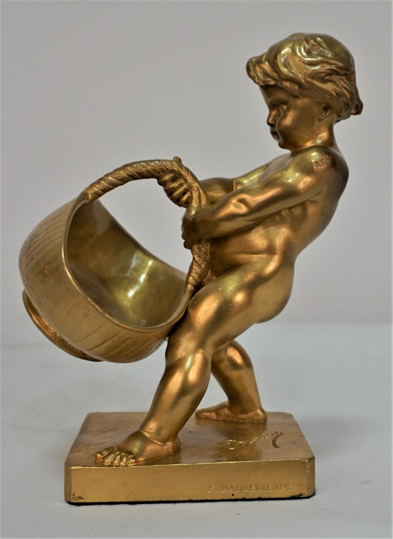 Antique Dore Bronze of a Boy with Basket by Louis-Ernest Barrias For Sale 2