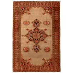 Antique Doroksh Persian Rug Beige Red Black Medallion Floral Pattern