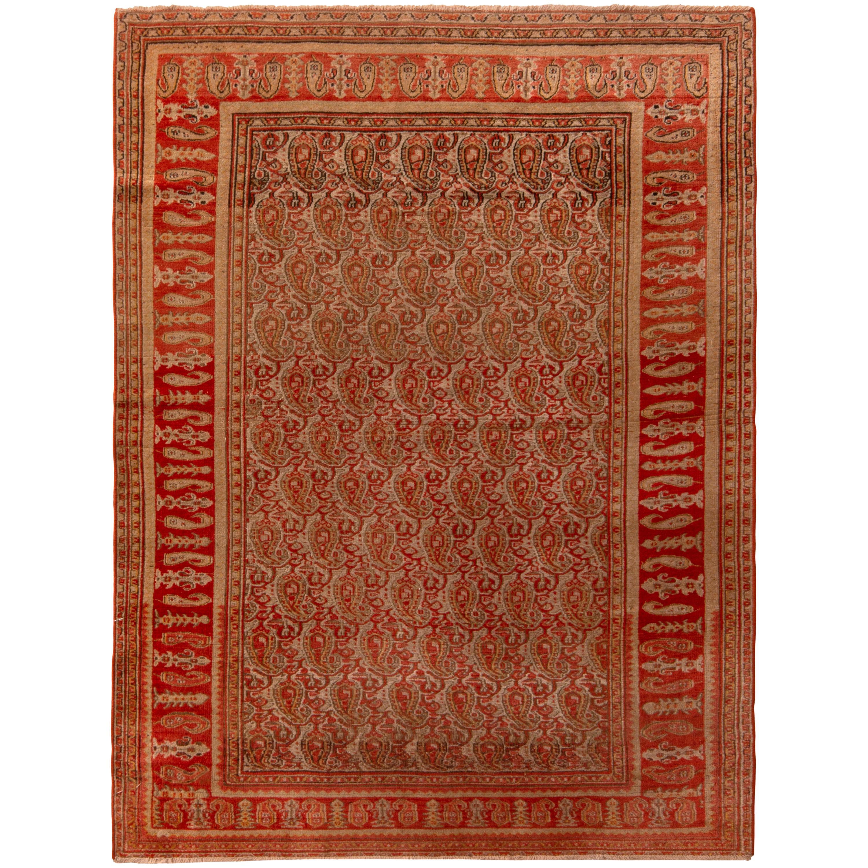 Antique Doroksh Rug Wool Persian Red Beige Geometric Paisley Pattern