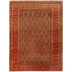 Antique Doroksh Rug Wool Persian Red Beige Geometric Paisley Pattern