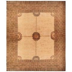 Antique Doroksh Tan Beige Wool Persian Rug with Fish Design