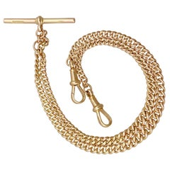 Antique Double Albert Watch Chain in Yellow Gold