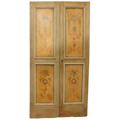 Antique double beige yellow wooden door with paintings, '700 Italy