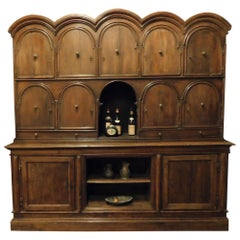 Antique Double-Body Cabinets Furniture in Walnut, Doors and Shelves, 1700, Italy
