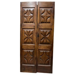 Antique Double Door Carved in Brown Walnut, Diamonds and Stars, Italy '600