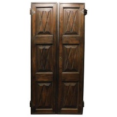 Antique Double Door in Brown Walnut, Cross-Carved Panels, Original Iron, 1600