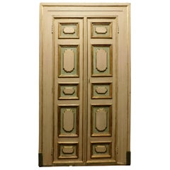 Antique Double Door Lacquered/Gilded with Frame, '700 Italy
