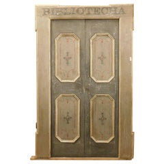 Antique Double Door of the Library, Gray Lacquered Original Frame, '700, Italy